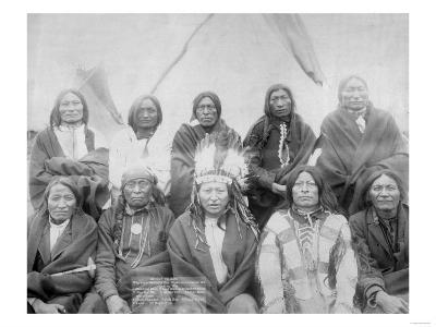 Lakota Indian Chiefs who Met General Miles to End Indian War Photograph - Pine Ridge, SD