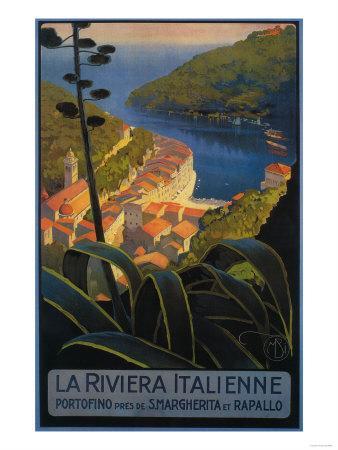 La Riviera Italienne: From Rapallo to Portofino Travel Poster - Portofino, Italy