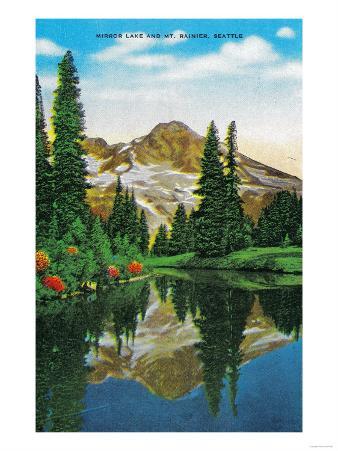 Mirror Lake and Mt. Rainier - Rainier National Park