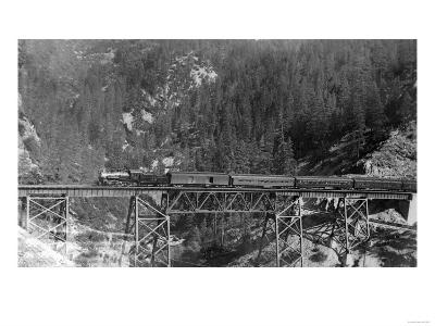 View of a Western Pacific Train on a Bridge - Plumas County, CA