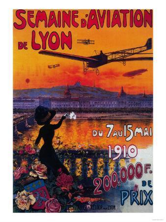 Semaine d' Aviation De Lyon Vintage Poster - Europe