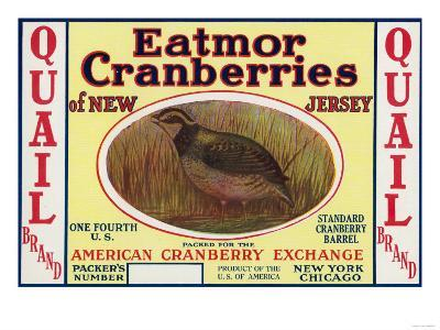 Quail Eatmor Cranberries Brand Label