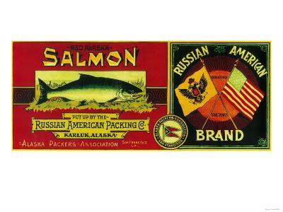 Russian American Salmon Can Label - Karluk, AK