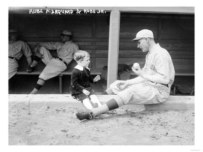 Rube Marquard & Rube Jr., Brooklyn Dodgers, Baseball Photo - New York, NY