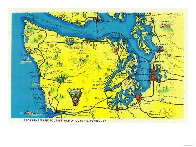 Sportsman and Tourist Map, Olympic Peninsula - Olympic National Park