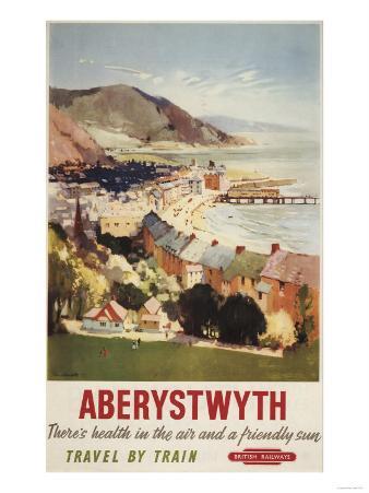 Aberystwyth, England - Aerial of Coast British Railways Poster