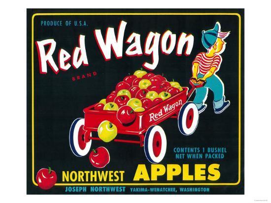 Red Wagon Apple Label Yakima Wa Prints By Lantern Press At