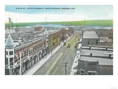 Aerial View of State Street and Snake River - Weiser, ID