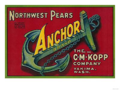 Anchor Pear Crate Label - Yakima, WA