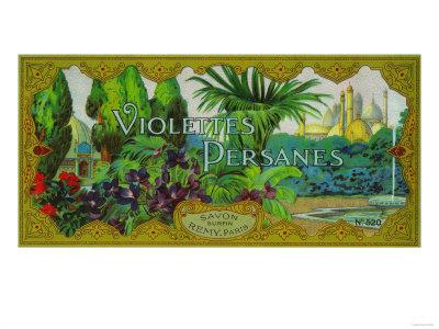 Violettes Persanes Soap Label - Paris, France