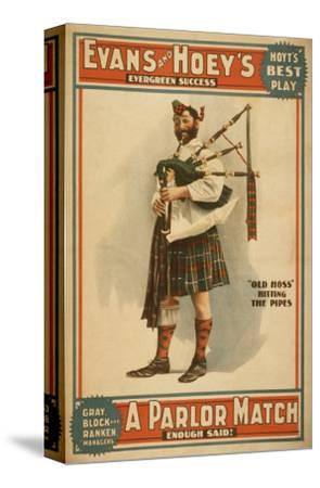 """A parlor Match """"Old Hoss"""" Scottish Bagpiper Poster"""