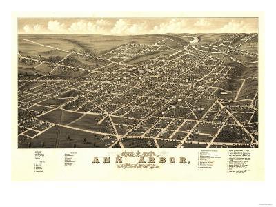 Ann Arbor, Michigan - Panoramic Map
