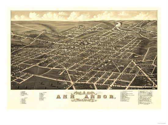 Ann Arbor Michigan Panoramic Map Prints by Lantern Press at