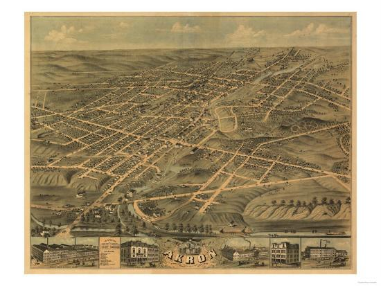 Akron Ohio Panoramic Map Akron Oh Prints By Lantern Press At