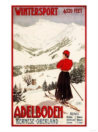 Adelboden, Switzerland - Woman Skier Overlooking Adelboden Poster