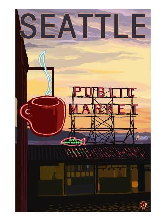 Seattle, Washington - Pike Place Market Sign and Water View