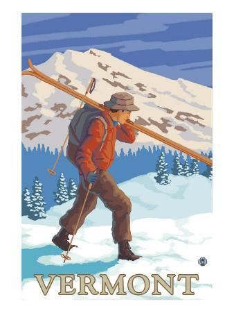 Vermont - Skier Carrying Skis