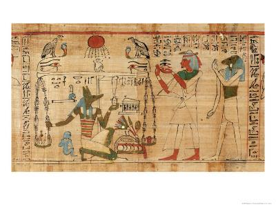 Book of the Dead of Aha-Mer: Anubis Weighing the Heart of Deceased Against the Feather of Truth