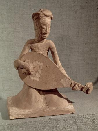 Seated Musician Playing a Lute, Tomb of General Chang Sheng, Anyang, Honan, Sui Dynasty, c.595