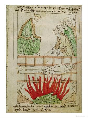 Martyrdom of St. Lawrence in 258 Ad, from a Bible