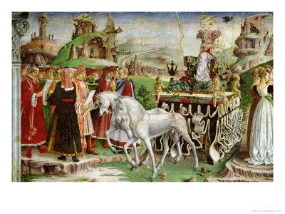 Triumph of Minerva: March, from the Room of the Months, Chariot and the Group of Savants, c.1467-70