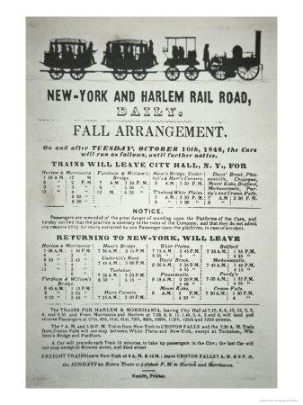Timetable For the New York and Harlem Rail Road, 1848
