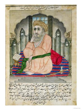 Sufi Sage Seated in a Niche, from an Album of Miniatures in Persian Style with Deccan Text