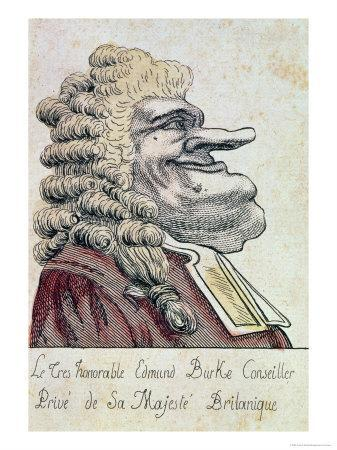 Edmund Burke, Private Adviser to His Majesty, the British King, French Caricature, c.1790