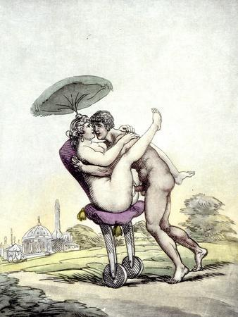 Couple Having Sex on a Wheeled Stool, 1808-17