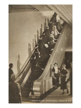 Escalator Marshall Fields, Chicago, Illinois