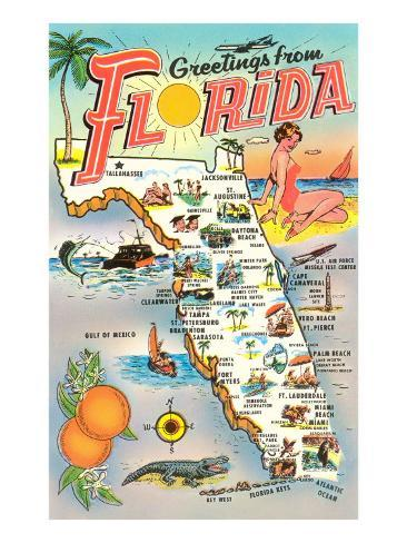 Florida Map Picture.Map Of Florida Poster At Allposters Com
