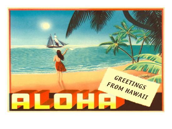 Greetings from hawaii hula girl on beach photo at allposters greetings from hawaii hula girl on beach m4hsunfo