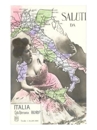 Buxom Peasant with Map of Italy