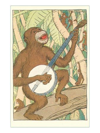 Chimp Playing Banjo