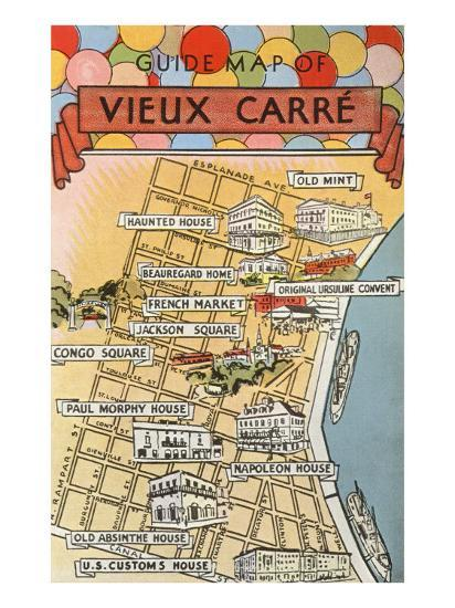 French Market New Orleans Map.Map Of Vieux Carre New Orleans Louisiana Prints At Allposters Com