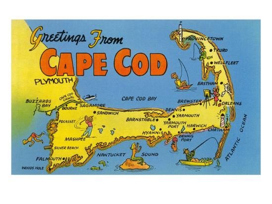 Map of Cape Cod, Massachusetts Photo at AllPosters.com