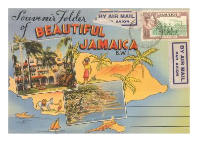 Postcard Folder, Beautiful Jamaica