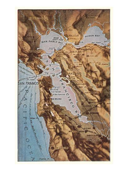 Relief Map Of Bay Area San Francisco California Poster Allposters Com Coastal marin county is included in the san francisco bay area. relief map of bay area san francisco california