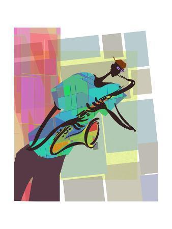 Saxophone Jazz Player on Colorful Geometric Background