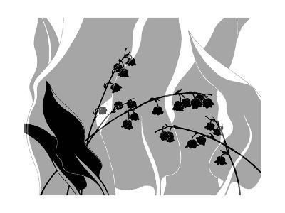 Greyscale Print of Flower Blossom and Leaves