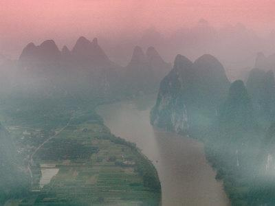 Karst Hills with Li River in Early Morning Mist, China