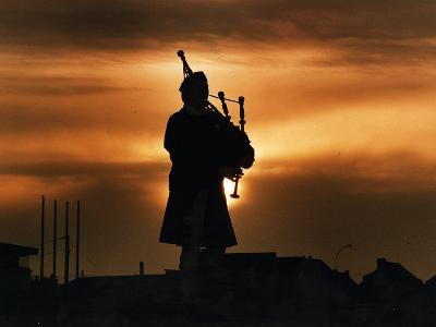 Piper William Bill Millin Playing Bagpipes, Normandy Beach