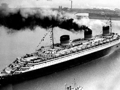 Ship Normandie Leaving Havre