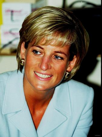 Princess Diana at Brompton Hospital Wearing Pale Blue Versace Suit