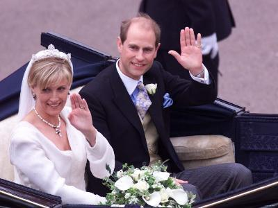 Prince Edward and Sophie Rhys Jones Waving After Their Wedding at Windsor June 1999