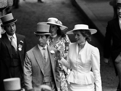 Prince Charles and Princess Diana with Oliver Hoare and Wife Diane at Royal Horserace Meeting