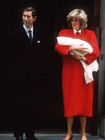 Prince Charles and Princess Diana with Prince Harry After His Birth September 1984