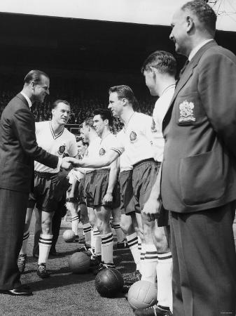 Prince Philip Meets the Bolton Players at the FA Cup Final Against Manchester United