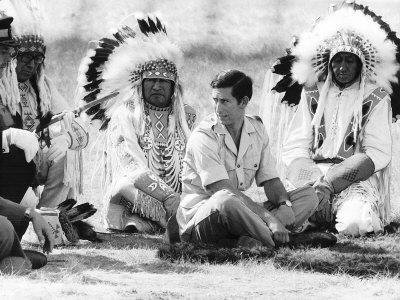 Prince Charles Attending Blackfoot Indian Tribal Ceremony in Calgary, Canada