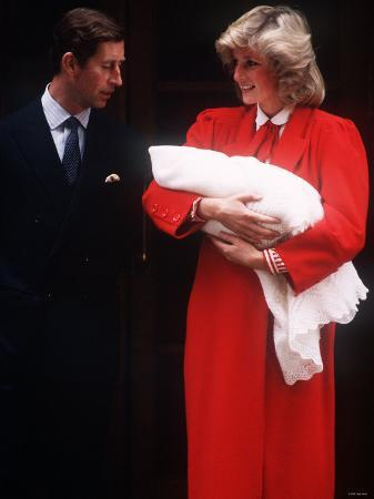Prince Harry Soon After Birth, Being Held by His Mother Princess Diana and Father Prince Charles